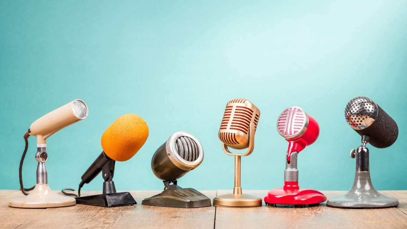 Various different microphones arranged in a row